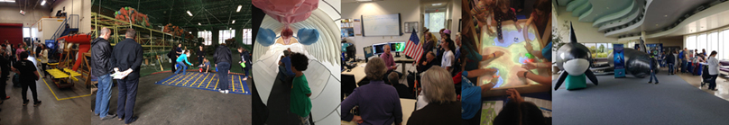 Collage of five images showing NOAA activites.  Images are tour of the mammel bone room, weather service rain distribution demo, ocean bouy demonstration, ocean environments, and weather service forecast office.